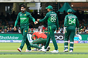 Mohammad Mahmudullah Riyad of Bangladesh goes down in pain after being struck in a sensitive area by a ball bowled by Mohammad Amir of Pakistan during the ICC Cricket World Cup 2019 match between Pakistan and Bangladesh at Lord's Cricket Ground, St John's Wood, United Kingdom on 5 July 2019.
