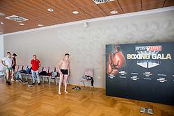 Slovenian team prior to the Official weighting ceremony one day before Dejan Zavec Boxing Gala event in Laško, on April 20, 2017 in Thermana Lasko, Slovenia. Photo by Vid Ponikvar / Sportida