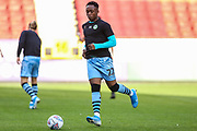 Forest Green Rovers Udoka Godwin-Malife(22) warming up during the EFL Cup match between Charlton Athletic and Forest Green Rovers at The Valley, London, England on 13 August 2019.