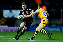 Ian Whitten of Exeter Chiefs is challenged by Jimmy Gopperth of Wasps - Mandatory by-line: Ryan Hiscott/JMP - 30/11/2019 - RUGBY - Sandy Park - Exeter, England - Exeter Chiefs v Wasps - Gallagher Premiership Rugby