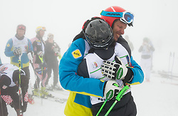 Andrej Jerman with his mother Ana during last race of A.  Jerman, Slovenian best downhill skier when he finished his professional alpine ski career on April 6, 2013 in Krvavec Ski resort, Slovenia. (Photo By Vid Ponikvar / Sportida)