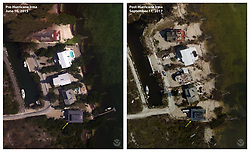 September 11, 2017 - Key West, Florida, U.S - Before and After damage from Hurricane Irma. Storm waves and surge during Hurricane Irma overtopped the seawall in front of these homes on Summerland Key and transported sand both landward and seaward of the existing seawalls. High winds likely caused the structural damage to the building rooftops. . (Credit Image: © USGS/ZUMA Wire/ZUMAPRESS.com)