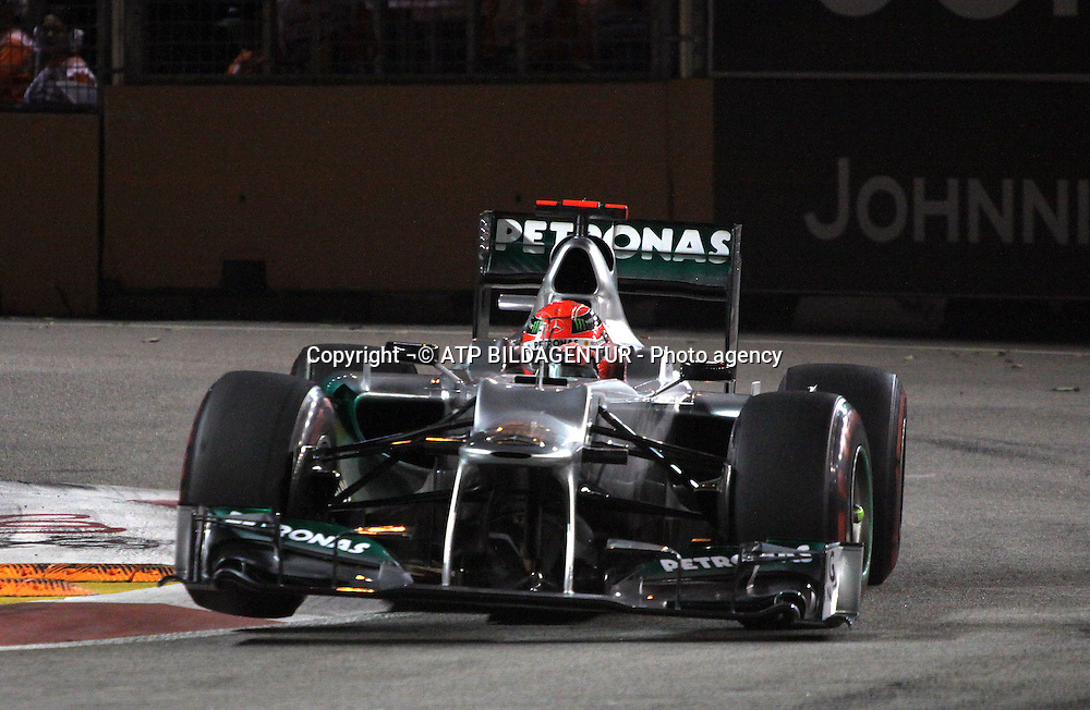 formula 1 GP, Singapore, 21.09.2012, Michael Schumacher, Mercedes Grand Prix,<br /> Formula One GP Singapore,  - Asia - night race - SINGAPUR - ASIEN - Formel 1 Nachtrennen - Foto: &not;&copy;  ATP Thomas Melzer