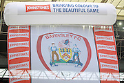 Banner raised on the pitch before the Johnstone's Paint Trophy Final between Barnsley and Oxford United at Wembley Stadium, London, England on 3 April 2016. Photo by Mark P Doherty.