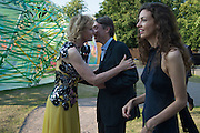 Julia Peyton-Jones, David Cholmondeley, 7th Marquess of Cholmondeley; Rose Cholmondeley Marchioness of Cholmondeley, Serpentine's Summer party co-hosted with Christopher Kane. 15th Serpentine Pavilion designed by Spanish architects Selgascano. Kensington Gardens. London. 2 July 2015.