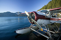 The venerable Beaver floatplane has provided service throughout  British Columbia  for decades and is an important link to the remote communities on the coast. Bute Inlet, British Columbia, Canada.