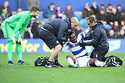 Queens Park Rangers forward Idrissa Sylla (40) down injured during the EFL Sky Bet Championship match between Queens Park Rangers and Ipswich Town at the Loftus Road Stadium, London, England on 2 January 2017. Photo by Matthew Redman.