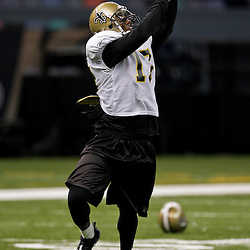 24 August 2009: New Orleans Saints wide receiver Robert Meachem (17) catches a pass during New Orleans Saints training camp practice at the Louisiana Superdome in New Orleans, Louisiana.