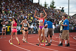 Olympic Trials Eugene 2012: women's 1500 meters, finish, Morgan Uceny celebrates win