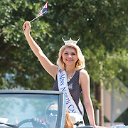 Miss North Carolina Beth Stovall waves to spectators during the North Carolina 4th of July Festival Parade Friday July 4, 2014 in Southport, N.C.