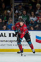 KELOWNA, CANADA - MARCH 16: Dalton Gally #3 of the Kelowna Rockets passes the puck against the Vancouver Giants  on March 16, 2019 at Prospera Place in Kelowna, British Columbia, Canada.  (Photo by Marissa Baecker/Shoot the Breeze)