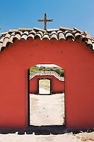Christian Cross Atop Doorway at La Purisima State Historic Park, Lompoc, California