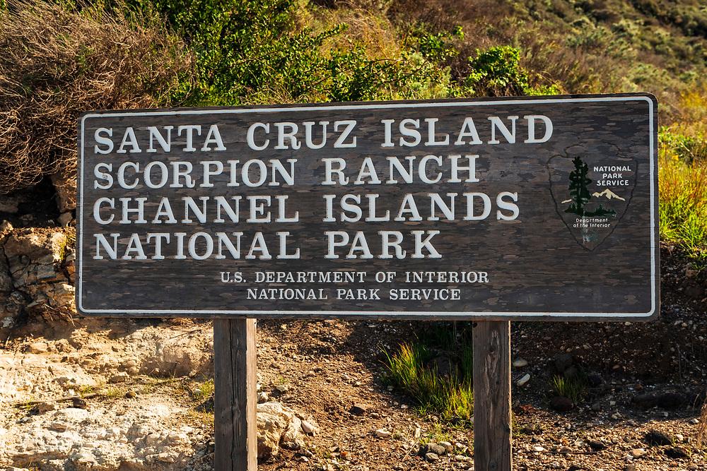 National Park sign at Scorpion Ranch, Santa Cruz Island, Channel Islands National Park, California USA