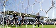 Nicolas Mortensen (FC Helsingør) sender bolden i mål til 2-0 under kampen i 2. Division mellem FC Helsingør og Vanløse IF den 24. august 2019 på Helsingør Ny Stadion (Foto: Claus Birch)