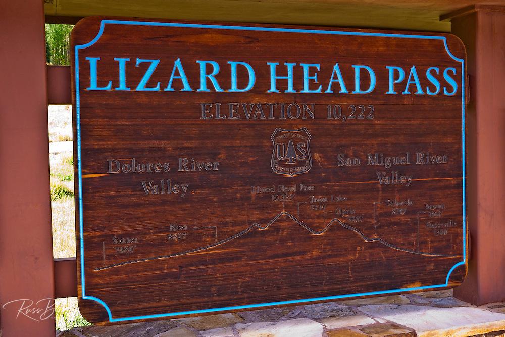 Sign on the San Juan Skyway (Highway 145) at Lizard Head Pass, San Juan National Forest, Colorado