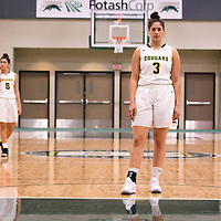 1st year point guard Lauryn Prokop (3) of the Regina Cougars during the Women's Basketball pre-season game on October 14 at Centre for Kinesiology, Health and Sport. Credit: Arthur Ward/Arthur Images