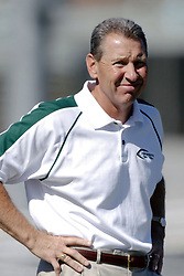 07 October 2006: IWU Head Coach Norm Eash. The Titans of Illinois Wesleyan University started off strong with a touchdown on the 2nd play from scrimmage in the game.  The Titans led most of the way, but failed to maintain the lead in the 4th quarter giving up the decision of this CCIW conference game to the Red Men of Carthage by a score of 31 - 28. Action was at Wilder Field on the campus of Illinois Wesleyan University in Bloomington Illinois.<br />