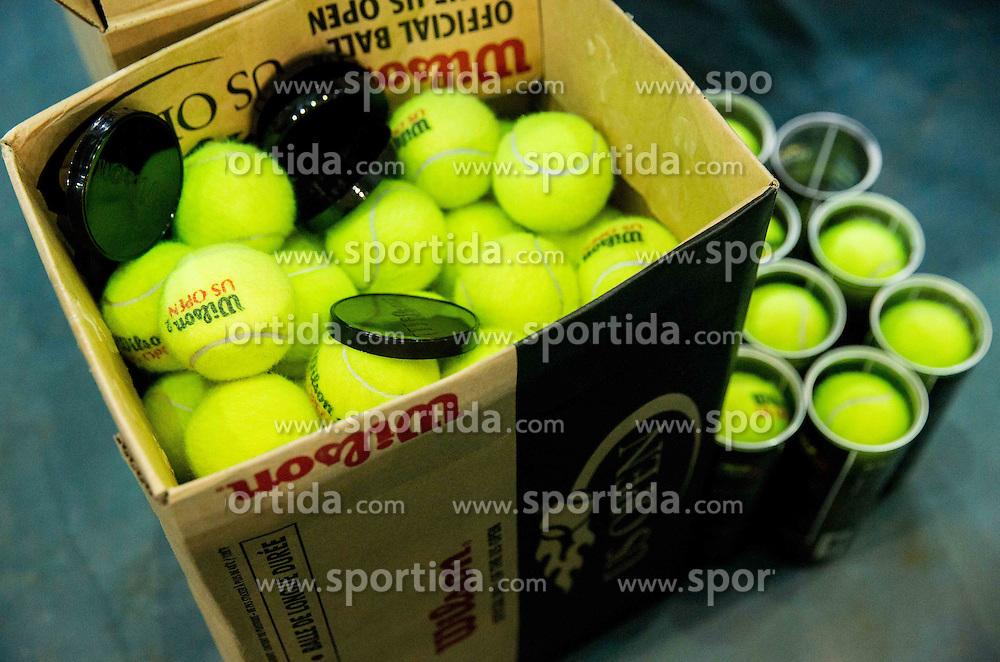 Balls during Davis Cup Slovenia vs Lithuania competition, on October 30, 2015 in Kranj, Slovenia. Photo by Vid Ponikvar / Sportida