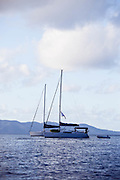 "One Luff moored in Great Bay, Jost Van Dyke, at sunrise during the Manhattan Sailing Club's ""De Caribbean Regatta"" cruise."