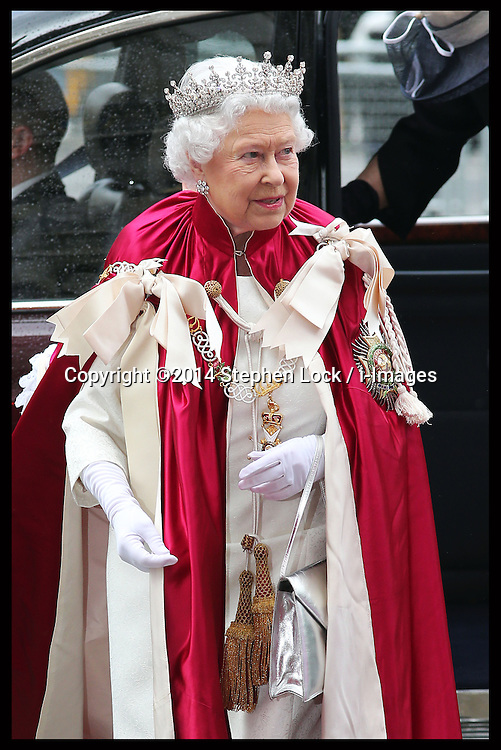 The Queen arriving for the Order of the Bath Service at Westminster Abbey in London, Friday, 9th May 2014. Picture by Stephen Lock / i-Images