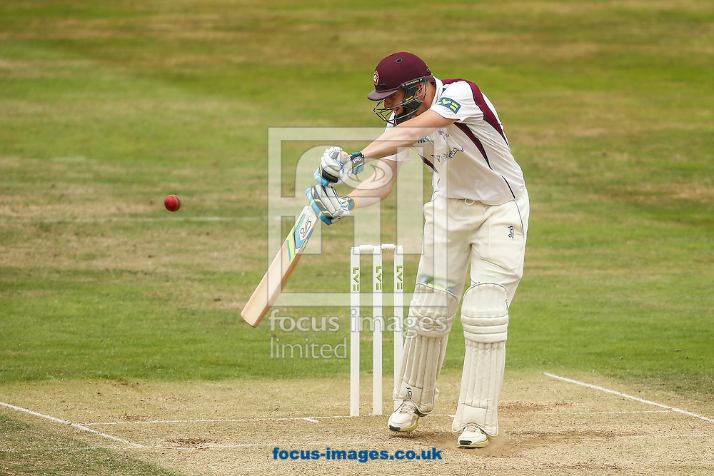Rob Keogh of Northamptonshire plays at a wide delivery during the LV County Championship Div Two match at the County Ground, Northampton<br /> Picture by Andy Kearns/Focus Images Ltd 0781 864 4264<br /> 23/08/2015