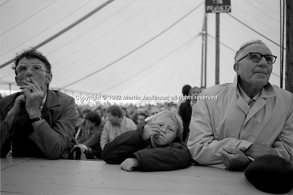 Waiting for the speeches to begin. Yorkshire Miners Demonstration & Gala, Doncaster 19/06/82