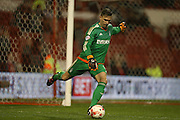 Nottingham Forest goalkeeper Dorus De Vries (1) kicks clear during the Sky Bet Championship match between Nottingham Forest and Brighton and Hove Albion at the City Ground, Nottingham, England on 11 April 2016.