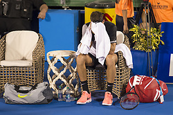February 22, 2018 - Delray Beach, FL, United States - Delray Beach, FL - February 22: Juan Martin Del Potro (ARG) appears to be breaking down due to off court issues during his match against Francis Tiafoe (USA) at the Delray Beach Tennis Center in Delray Beach, Florida.   Credit: Andrew Patron/Zuma Wire (Credit Image: © Andrew Patron via ZUMA Wire)