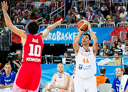 Roko Leni Ukic of Croatia vs Arvin Slagter of Netherlands during basketball match between Netherlands and Croatia at Day 5 in Group C of FIBA Europe Eurobasket 2015, on September 9, 2015, in Arena Zagreb, Croatia. Photo by Vid Ponikvar / Sportida