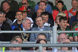 An Taoiseach Enda Kenny TD, chatting with the Mayor of Galway Cllr Donal Lyons before the start of the Connacht Championship semi-final between Galway and Mayo.<br /> Pic Conor McKeown