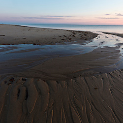 Sand patterns at sunset on Bound Brook Island, Cape Cod National Seashore, Wellfleet, Massachusetts.
