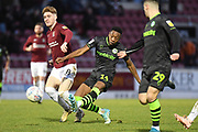 Forest Green Rovers midfielder Ebou Adams (14) takes a shot at goal during the EFL Sky Bet League 2 match between Northampton Town and Forest Green Rovers at the PTS Academy Stadium, Northampton, England on 14 December 2019.