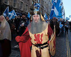 All Under One Banner Independence March, Edinburgh, Saturday 6th October 2018<br /> <br /> Pictured: King Robert the Bruce attended the march<br /> <br /> Alex Todd | Edinburgh Elite media