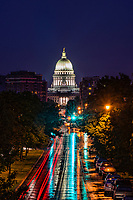 Wisconsin State Capitol & Washington Avenue, Rainy Morning