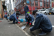 Cleaning the streets of radiation in Fukushima City, Japan.<br /> <br /> Gatorna reng&ouml;rs fr&aring;n radioaktivt nedfall i Fukushima City, Japan.