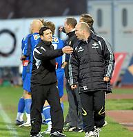Fotball<br /> Tippeligaen 2007<br /> 21.04.2007<br /> Stabekk vs Rosenborg<br /> Resultat 2 - 1<br /> Foto: Robert Christensen - Digitalsport<br /> <br /> Rosenborg Trener Knut Tørum krangler ang straffesparket til Stabekk