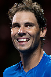January 7, 2019 - Sydney, NSW, U.S. - SYDNEY, AUSTRALIA - JANUARY 07: Rafael Nadal (ESP) smiles at The Sydney FAST4 Tennis Showdown on January 07, 2018, at Qudos Bank Arena in Homebush, Australia. (Photo by Speed Media/Icon Sportswire) (Credit Image: © Steven Markham/Icon SMI via ZUMA Press)