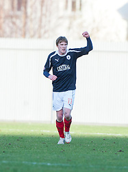 Falkirk's David Weatherston (11) celebrates after scoring their second goal..half time : Dumbarton v Falkirk, 23/2/2013..©Michael Schofield.