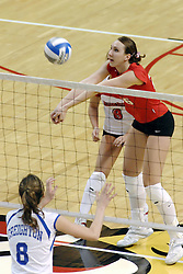 24 November 2006: Kari Staehlin send the ball over the net with 2 hands during a Quarterfinal match between the Illinois State University Redbirds and the Creighton University Bluejays. The Tournament was held at Redbird Arena on the campus of Illinois State University in Normal Illinois.<br />