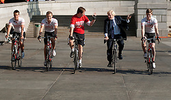 © Licensed to London News Pictures. LONDON, UK  05/07/11. Alastair Campbell, Chairman of Fundraising at Leukaemia and Lymphoma Research, and the Mayor of London, Boris Johnson, pose in Trafalgar Square alongside four school boys who are set to cycle from London to Lisbon in aid of the blood cancer charity. Alastair Campbell, L-R Tom Prebenson (16), Louise Metcalfe (17), Boris Johnson, Alastair Campbell, Archie Gilmour (17, Boris Johnson's godson), Harry Pearson-Gregory (16), for more information see www.beatbloodcancers.org. Please see special instructions for usage rates. Photo credit should read Matt Cetti-Roberts/LNP