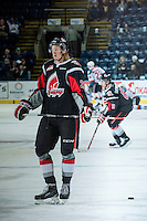 KELOWNA, CANADA - FEBRUARY 14: Axel Blomqvist #23 of Moose Jaw Warriors stands on the ice during warm up against the Kelowna Rockets on February 14, 2015 at Prospera Place in Kelowna, British Columbia, Canada.  (Photo by Marissa Baecker/Shoot the Breeze)  *** Local Caption *** Axel Blomqvist;