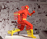 THE ART OF THE BRICK: DC SUPER HEROES <br /> designed by Nathan Sawaya <br /> South Bank, London, Great Britain <br /> 28th February 2017 <br /> <br /> London debut opens on 1st March 2017<br /> <br /> Flash Forward <br /> Bricks: 3,775 <br /> 86x86x36 cm <br /> <br /> <br /> <br /> Together with Warner Bros. and DC Entertainment, Nathan Sawaya has created the world&rsquo;s largest collection of artwork inspired by DC's Justice League, including Batman, Superman, Wonder Woman, alongside DC Super-Villains the Joker, Harley Quinn and more.<br />  <br /> <br />  <br /> THE ART OF THE BRICK: DC SUPER HEROES exhibition includes more than 120 original pieces, created exclusively from LEGO bricks, including a life-size Batmobile (5.5 meters) and built from half a million standard pieces. Sawaya has captured on a real scale some of the most iconic Super Heroes and Super-Villains from DC, exploring more than 80 years of history.<br /> <br /> <br /> <br /> Photograph by Elliott Franks <br /> Image licensed to Elliott Franks Photography Services