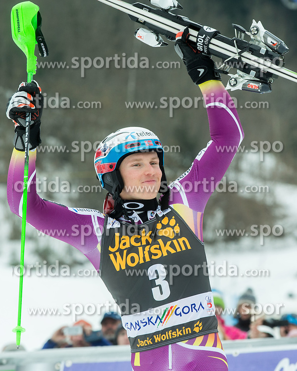 Winner KRISTOFFERSEN Henrik of Norway celebrates at trophy ceremony after the 2nd Run at Men Slalom race of FIS Alpine Ski World Cup 54th Vitranc Cup 2015, on March 15, 2015 in Kranjska Gora, Slovenia. Photo by Vid Ponikvar / Sportida