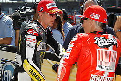 28.08.2010, Motor Speedway, Indianapolis, USA, MotoGP, Red Bull Indianapolis Grand Prix, im Bild Nicky Hayden - Ducati team and Ben Spies - Monster Tech 3 Yamaha team, EXPA Pictures © 2010, PhotoCredit: EXPA/ InsideFoto/ Semedia *** ATTENTION *** FOR AUSTRIA AND SLOVENIA USE ONLY!