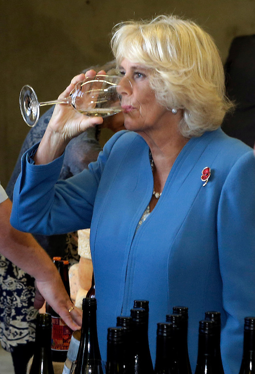 Camilla, Duchess of Cornwall tastes wine during her tour of the Mahana winery near Nelson, New Zealand, Saturday, November 07, 2015. SNPA / Reuters, Anthony Phelps **POOL**