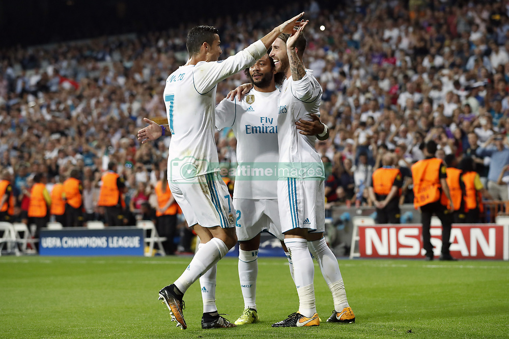 (L-R) Cristiano Ronaldo of Real Madrid, Marcelo of Real Madrid, Sergio Ramos of Real Madrid during the UEFA Champions League group H match between Real Madrid and APOEL FC on September 13, 2017 at the Santiago Bernabeu stadium in Madrid, Spain.