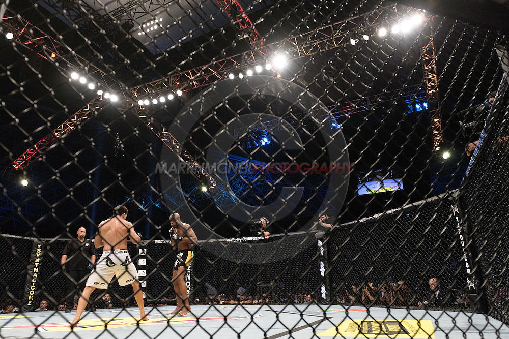 "ABU DHABI, UNITED ARAB EMIRATES, APRIL 10, 2010: Demian Maia walks to his corner between rounds at ""UFC 112: Invincible"" inside Ferari World, Abu Dhabi on April 10, 2010"