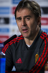 March 26, 2018 - Madrid, Madrid, Spain - Press conference of the national coach of Spain Julen Lopetegui and the players Thiago Alcantara and David de Gea, before the friendly match between Spain and Argentina, on March 27, 2018. Wanda Metropolitano Stadium, Madrid, Spain. (Credit Image: © Jose Breton/NurPhoto via ZUMA Press)