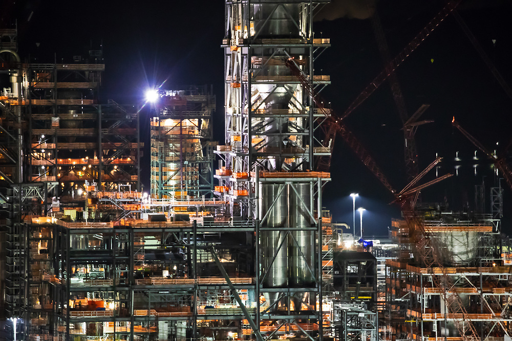 "Detial of Shell's sprawling plastics plant , also known as an ""ethane cracker,"" under construction in Beaver County, Pennsylvania. The plant is part of  the growing petrochemcial industry in the United States. The  expanding shale gas industry has been building demand for fossil fuels from its fracked oil and gas wells by promoting turning its products into plastics and petrochemicals."