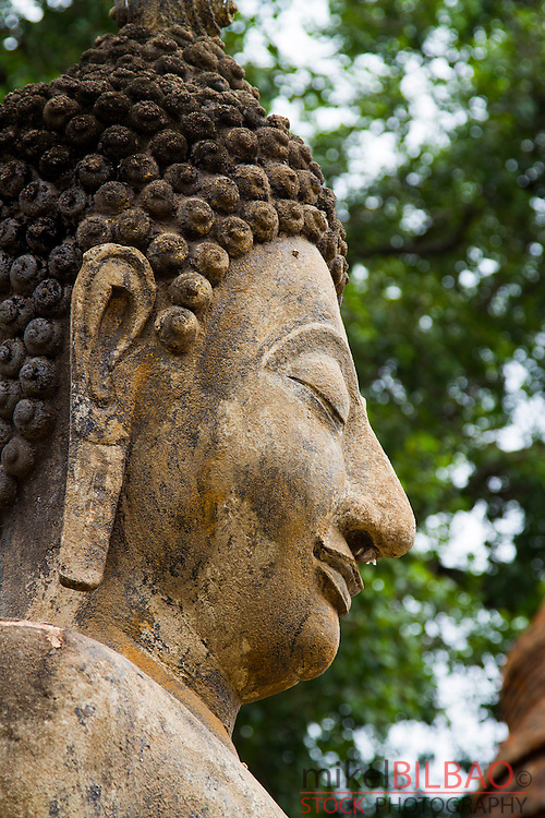 Buddha statue. Wat Mahathat. Sukhothai Historical Park. Thailand.